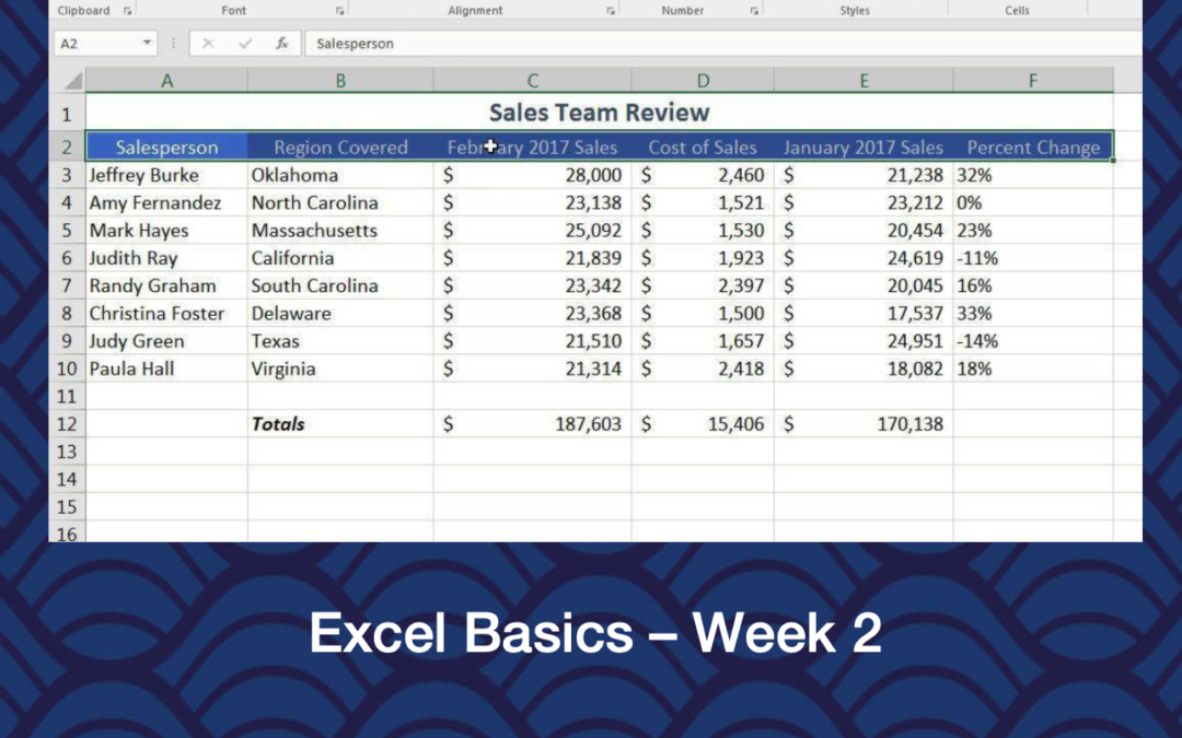 Excel Basics – Week 2