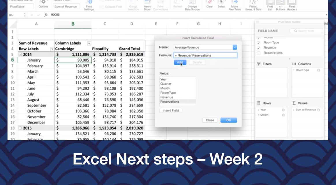 Excel next steps – week 2