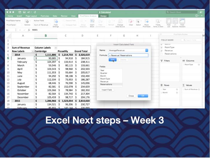Excel Next Steps – Week 3